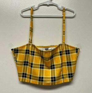 3/10$ DIVIDED Crop Top Belly Shirt Plaid Yellow